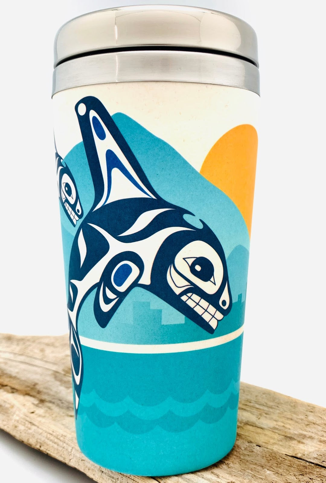 Orca Family Bamboo Fiber Travel Mug