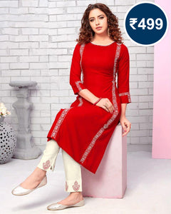 Stylish Red Kurti With Pant