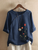 Flower Embroidery O-neck Long Sleeve Button Vintage T-shirts