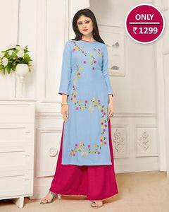 Beautifully Embroidered Sky Blue Kurta With Palazzo