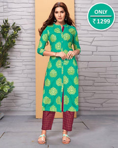 Beautiful Green Color Butta Kurti With Maroon Checks Pant