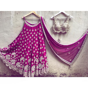 PURPLE EMBROIDERED ATTRACTIVE PARTY WEAR SILK LEHENGA CHOLI
