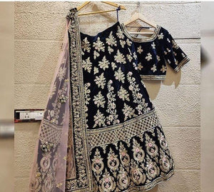 BLACK EMBROIDERED ATTRACTIVE PARTY WEAR SILK LEHENGA CHOLI