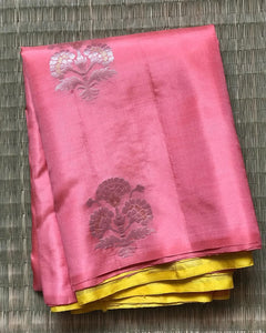 Trendy Pink And Yellow Color Designer Saree