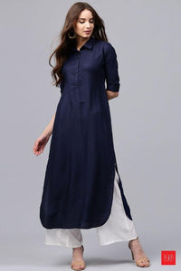 A line Plain Casual Reyon Kurti With Plazzo for Women's and Girls