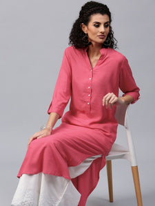 A line Plain Casual Reyon Kurtis for Women's and Girls