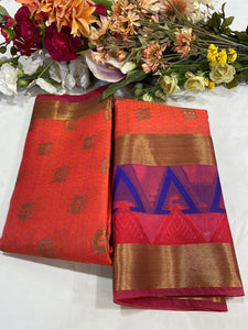 Weaving Patten Tansui Silk Saree With Blouse