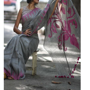 Attractive Gray Color Digital Printed Heavy Linen Cotton Saree - Bollywood Replica Saree