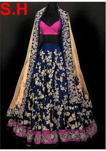 Blue Embroidered Work Attractive Banglory Silk Semi-Stitched Lehenga Choli