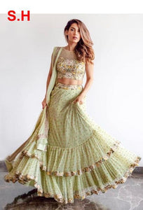 Pista Colored Ruffle Net Embroidered Semi-Stitched Lehenga Choli