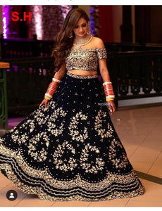 Fancy Black Velvet Heavy Embroidery Lehenga Choli buy Online