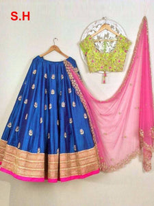 Blue Colored Partywear Designer Embroidered Taffeta Silk Lehenga Choli