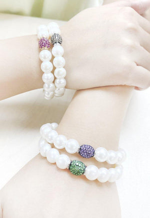 9mm Pearl & Brown Diamond Bracelet BR27214 - Cometai