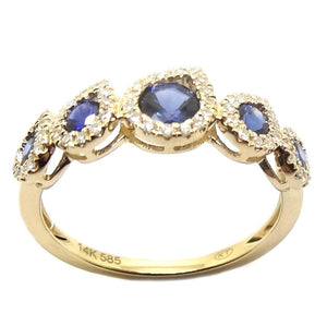 Load image into Gallery viewer, Sapphires & Diamond Ring CR107Y