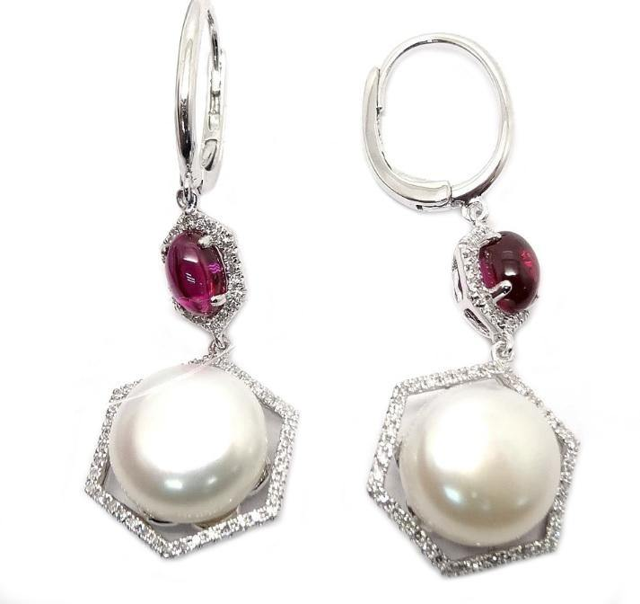 10mm Pearl & Diamond Earring E33612 - Cometai