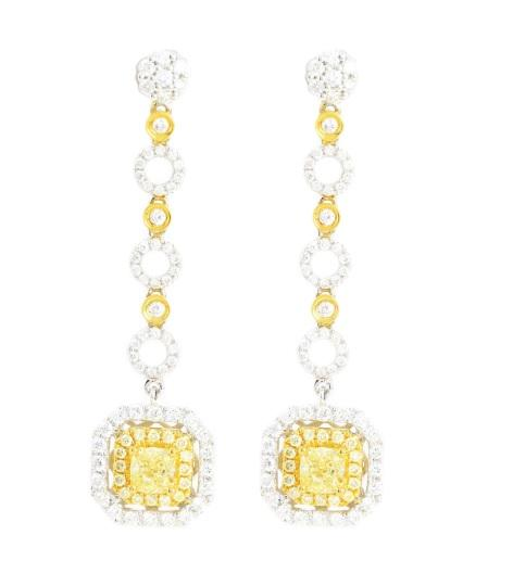 Yellow Diamond & Diamond Earrings E35115