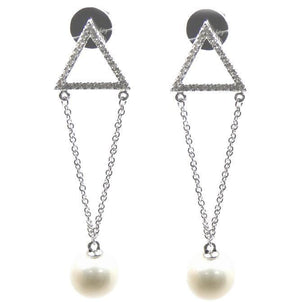 Load image into Gallery viewer, 8mm Pearl & Diamond Earrings E38623 - Cometai
