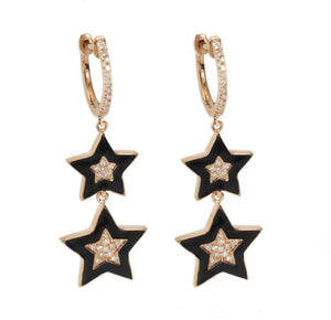 Enamel Diamond Earrings E40618 - Cometai