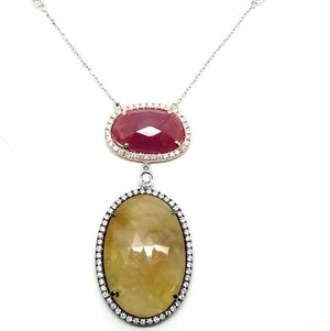 Load image into Gallery viewer, Diamond & Slice Gemstone Necklace NL33272 - Cometai