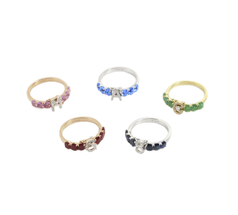 Interchangeable Initial Gemstone Ring R40176