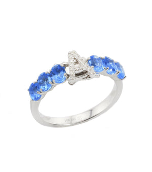 interchangeable Initial Gemstone Ring R40176 - Cometai