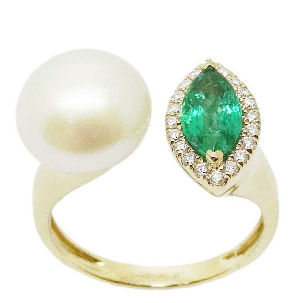 Emerald & Pearl Ring R41025