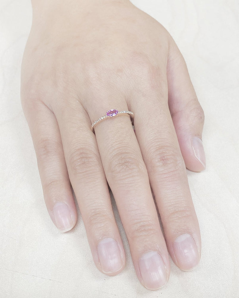 Load image into Gallery viewer, Pink Sapphire & Diamond Ring R33896