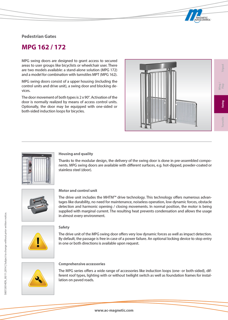 Mpg-162 Swing Gate - Pedestrian Turnstilies
