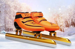 Ice Blade Inline Skates for Speed Race Track Ice Skiing 430mm 410mm 380mm Short Track Orange White Carbon Fiber Boot 165mm Mount