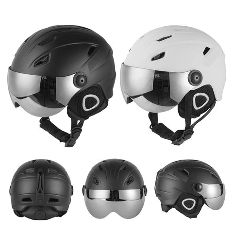Ski Helmet Half-covered Ski Helmet With Goggles Visor Snowboard Helmet Winter Snow Sled Sledge Scooter Helmet Mask