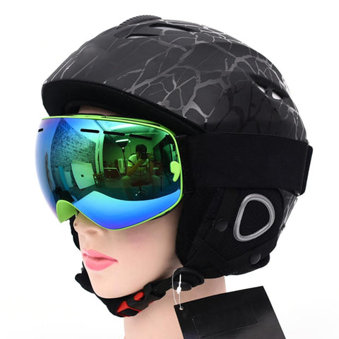 Half-covered Ski Helmet With Goggles Visor Snowboard Helmet Winter Snow Sled Sledge Scooter Helmet Mask