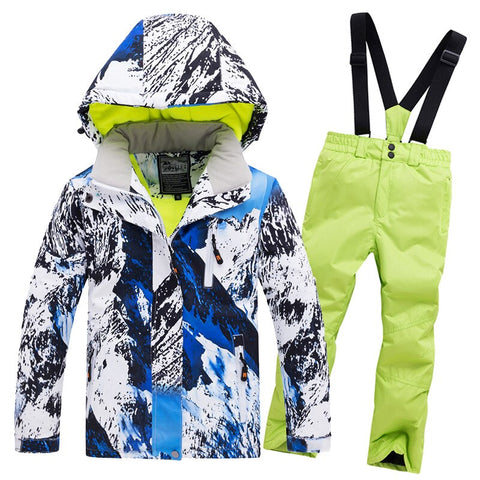 2019 Boys Skiing Suits Fleece Hooded Kids Snow Sets Windproof Sport Children Snowboard Outfits Jackets Overalls Winter Clothes