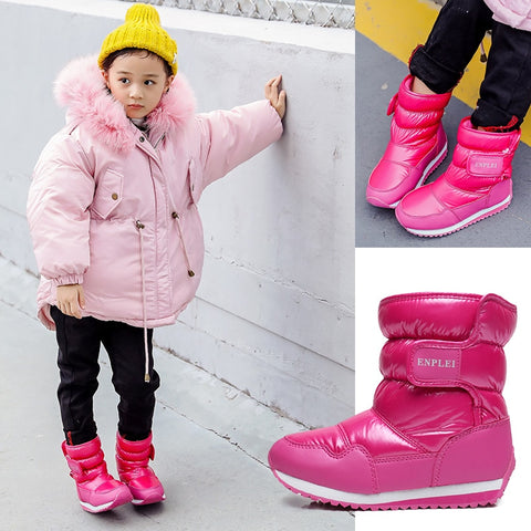 Koovan Children Warm Snow Boots 2018 Warm Boys And Girls Winter Shoes Skating Boots Outside -25 Waterproof Soft Bottom Thick