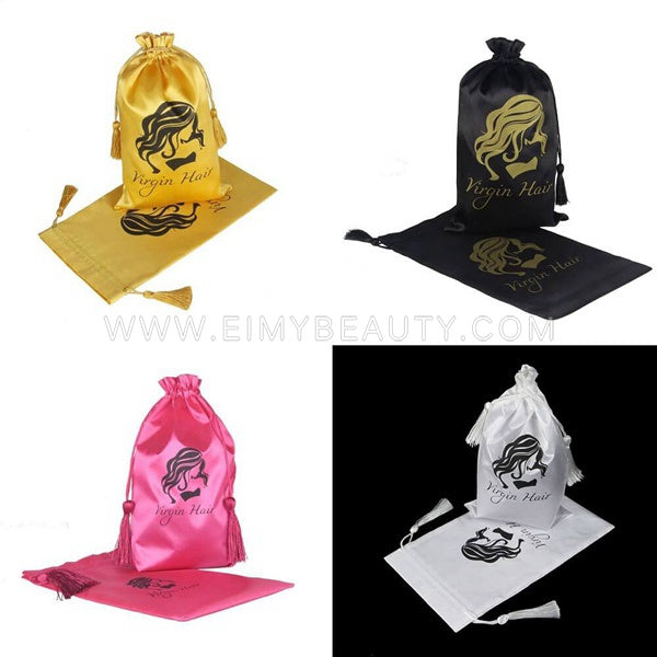 Silk Satin Hair Packing Bags With Customize Logo 100 pcs