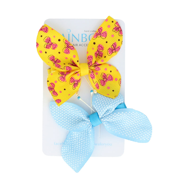 Blue & Yellow Butterfly Clip Set