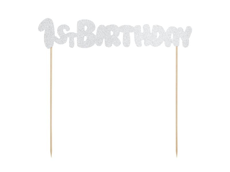 1st Birthday Topper - Silver & Gold