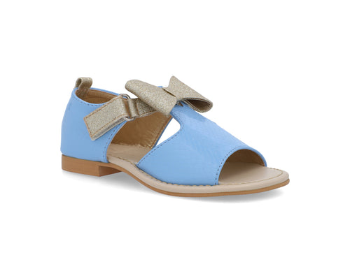Patent Light Blue & Gold Bow Sandal
