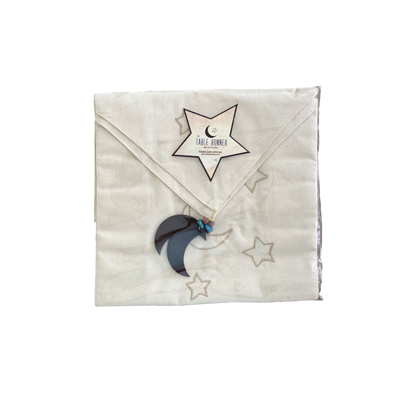 Moon & Star Gold Thread Table Runner