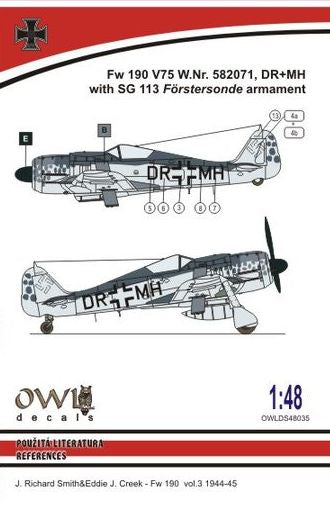 OWLDS48035 OWL 1/48 Fw 190 V75 W.Nr.582071, DR+MH with SG Forstersonde armament