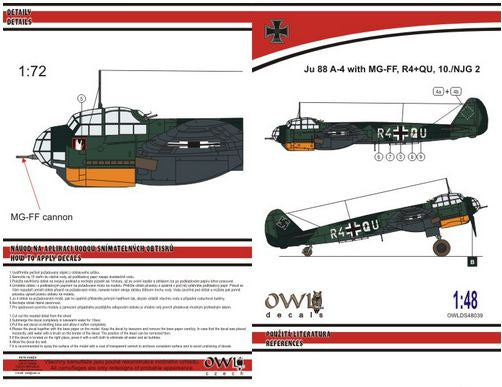 OWLDS48039 OWL 1/48 Junkers Ju-88A-4 with MGFF cannon (R4+QU NJG 2)