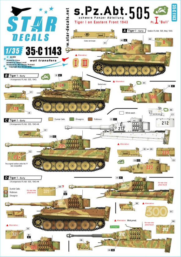 35-C1143 Star Decals 1/35 Schwere Pz.Abt. 505. Early and Mid production Tiger I with 'Bull' marking