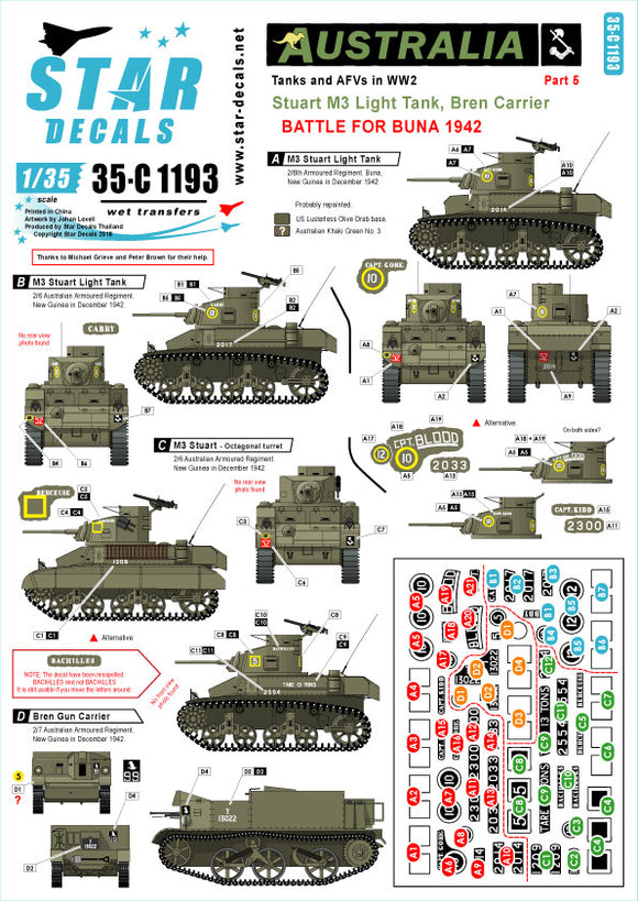 35-C1193 Star Decals 1/35 Australia Tanks & AFVs # 5. Battle of Buna 1942. Stuart M3 Light Tank and Bren Carrier. 'CPT Kidd', 'CPT Blood', CPT Gore', 'Cabby', 'Berceuse', 'Bachilles'.