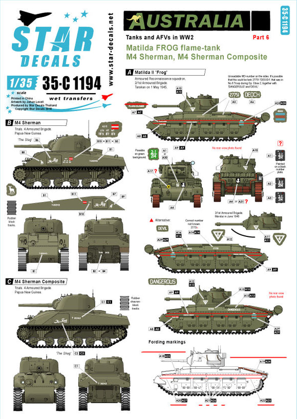 35-C1194 Star Decals 1/35 Australia Tanks & AFVs # 6. Matilda FROG Flame Tank. 'Dangerous', 'Deoch', 'Devil' M4 Sherman 'The Stag'. M4 Sherman Composite 'The Shag'.