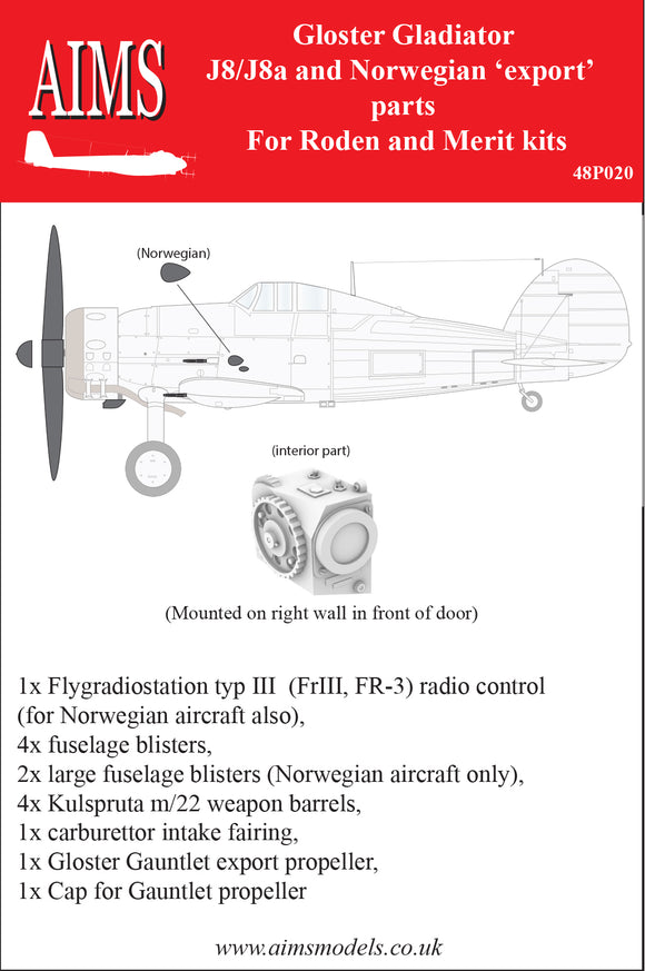 AIMS48P020 Aims 1/48Gloster Gladiator J8/J8a & Norwegian Export parts ( Merit and Roden kits)[Mk.I Mk.II]
