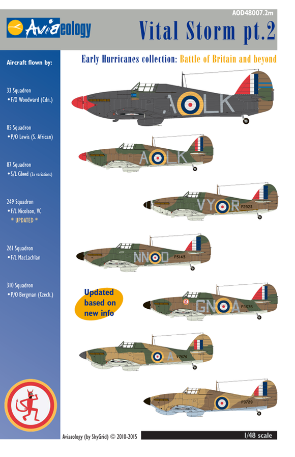 AOD480072M Aviaeology 1/48 Vital Storm Early Hurricanes pt 2 (VC aircraft update)