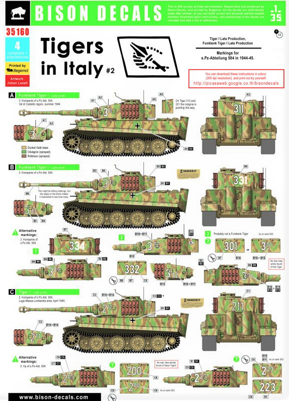 BD35160 Bison Decals 1/35 Tigers In Italy