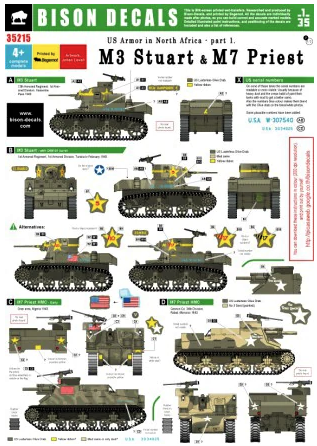 BD35215 Bison decals 1/35 US Tanks in North Africa #1. M7 Priest 105mm Howitzer Motor Carriage & M3 Stuart, 1942-43