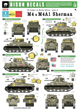 BD35216 Bison Decals 1/35 US Tanks in North Africa #2. M4 & M4A1 Sherman, 1942-43