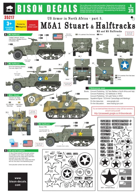 BD35217 Bison Decals 1/35 US Tanks in North Africa #3. Halftracks & M5A1 Stuart, 1942-43