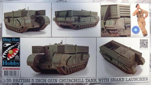 DH96006 Ding Hao Hobby 1/35 Churchill 3 inch Gun Carrier with 25+25 Snake Pipes & Bonus Resin Figure